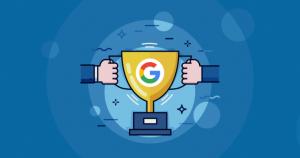 seo blog banner holding google trophy